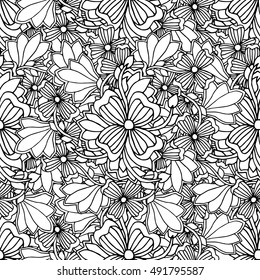 Doodle style floral garden seamless pattern. Vector illustration, coloring book