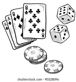 Doodle style gambling vector illustration with playing cards, dice, and poker chips