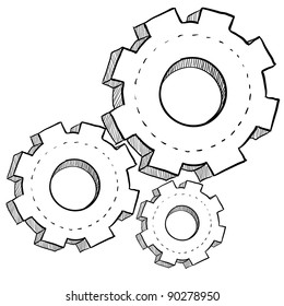 Doodle style gears, cogs, or settings vector illustration