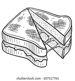 Doodle style gooey grilled cheese sandwich illustration in vector format.