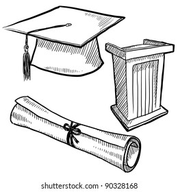 Doodle style graduation or school vector illustration with cap, podium, and diploma scroll