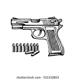 Doodle style handgun sketch in vector format. Also included bullet. Stock Illustration.