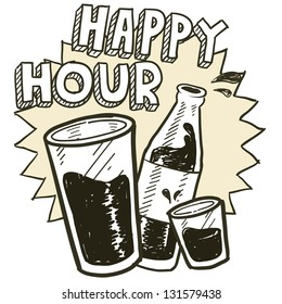 Doodle style happy hour alcohol drinking sketch in vector format.  Includes pint glass, text, shot glass, and beer bottle.