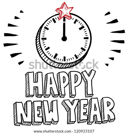 Doodle style Happy New Year sketch with illustrated clock striking midnight.  Vector format.