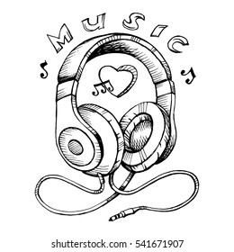 Doodle style headphones sketch vector illustration with musical notes.