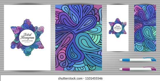 Doodle style hexagram corporate identity and stationery templates set . Colorful zentangle jewish design. Ethnic tribal flyer and document mockups.
