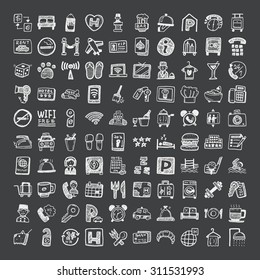 doodle style hotel icons