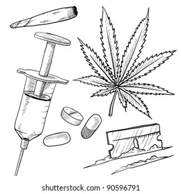 drug injection images stock photos vectors shutterstock Sharing Needles IV Drug Use doodle style illegal drugs illustration in vector format including pot heroin cocaine and