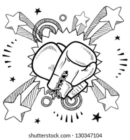 Doodle style illustration boxing in vector format. Includes boxing gloves and pop explosion background.