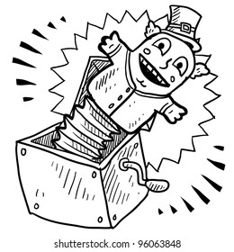 Doodle style jack in the box illustration in vector format