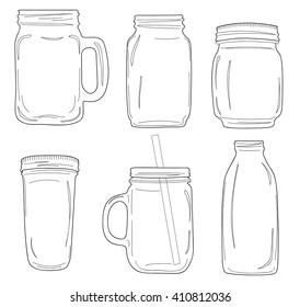 Doodle style jars. Vector illustration.