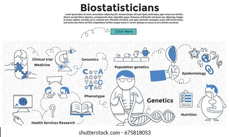 Doodle style. Job Biostatistics concept. Modern line style concept for web banners. Epidemiology; Health Services Research; Nutrition; Environmental; Clinical trial; Genomics