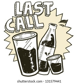 Doodle style las call alcohol drinking sketch in vector format.  Includes pint glass, text, shot glass, and beer bottle.