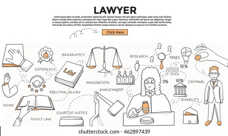 Doodle style. Lawyer concept. Modern line style concept for web banners. Lawyer , family law, personal injury, bankruptcy, immigration, home, employment, disability, taxes
