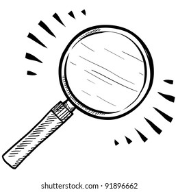 Doodle style magnifying glass, search, or look icon illustration in vector format