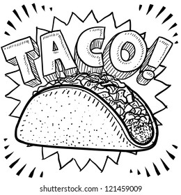 Doodle style Mexican food taco sketch in vector format.