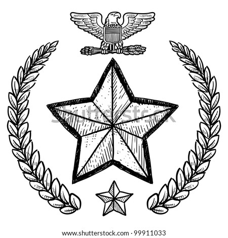 Doodle Style Military Rank Insignia Us Stock Vector Royalty Free