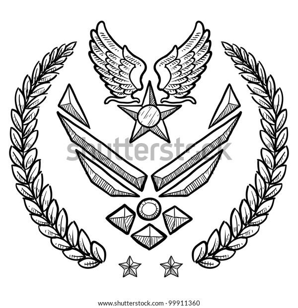 Militärische Rang Insignien im Doodle Stil für die Stock