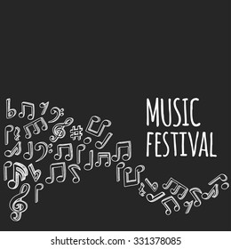 Doodle style musical notes background. Vector illustration.