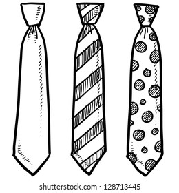 Doodle style necktie assortment clothing illustration in vector format.
