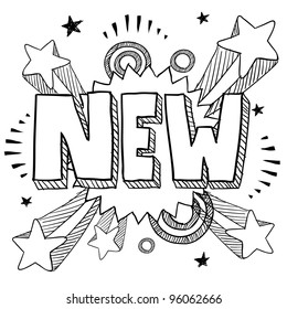 Doodle style new icon on retro pop explosion background in vector format