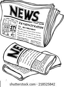 Doodle style newspaper illustration