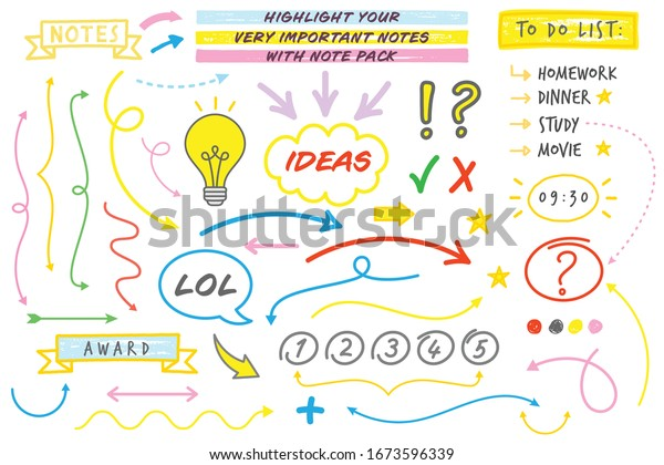 Doodle Style Note Taking Vector Set (Live Stroke Path)