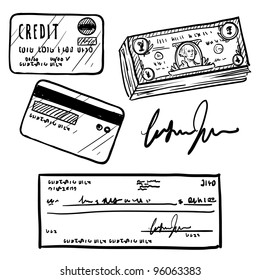 Doodle style personal finances item set in vector format.  Set includes cash, personal check, credit card, and signature.