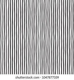 Doodle style pinstripes seamless repeat vector pattern. Free hand drawn uneven stripes, streaks, bars, lines, strips. Black and white monochrome background. Elegant regular striped texture, template.