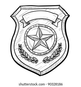 Doodle style police or firefighters badge vector illustration with blank space for text