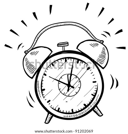 Doodle Style Retro Alarm Clock Illustration Stock Vector Royalty