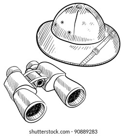 Doodle style safari gear in vector format including hat and binoculars