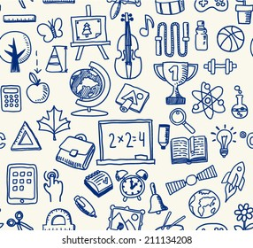 Doodle style, school items theme seamless pattern illustration