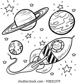 Doodle style science fiction set sketch in vector format.  Set includes retro rocket ship and a variety of cartoon planets