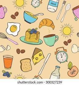 Doodle style seamless pattern with breakfast food and elements