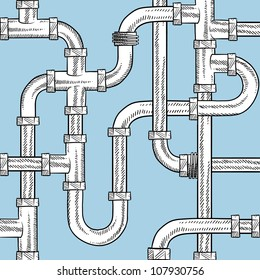 Doodle style seamless water pipe background sketch in vector format. Ready to be tiled.