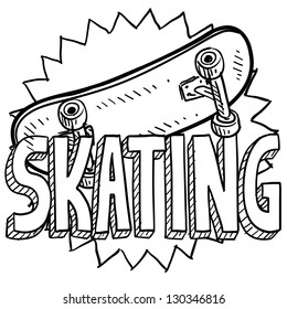 Doodle style skateboarding illustration in vector format. Includes text and skateboard.