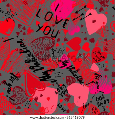 doodle style sketch art graffiti hearts stock vector royalty free