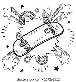 Doodle style sketch of a skateboard with pop explosion background in 1960s or 1970s style in vector illustration.