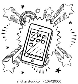 Doodle style smartphone or mobile device sketch on 1960s or 1970s pop explosion background.