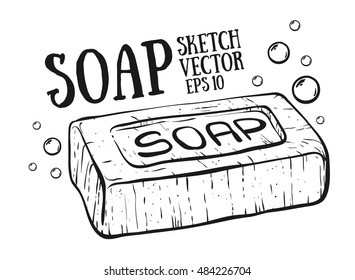 Doodle style soap with bubbles bathroom vector illustration.