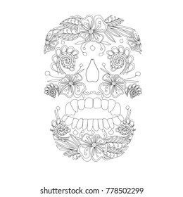 Doodle style stylized black and white sugar skull, hand drawn, stock vector illustration for print, for adult antistress coloring page