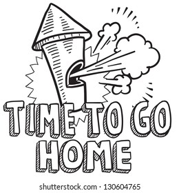 Doodle style time to go home from work illustration in vector format.  Includes text and blowing whistle.