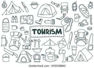Doodle style tourism, camping set. hand drawn vector camping clip art set. Isolated on white background drawing for prints, poster, trip, travel design. Nature, forest recreation, sport