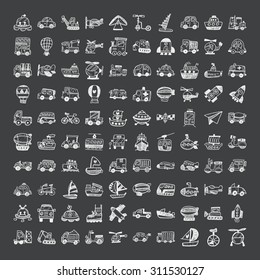 doodle style transport icons