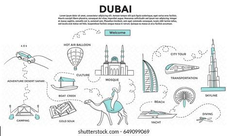 Doodle style. Travel dubai concept. Modern line style concept for web banners. Adventure desert safari, bus tour, yacht, hot air balloon, mosque, culture, diving, camp desert. landmark .