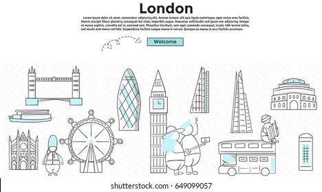 Doodle style. Travel London concept. Modern line style concept for web banners. bridge, big ben, museum, bus, royal albert, St Paul's, The Shard, the gherkin, tower of london, westminster