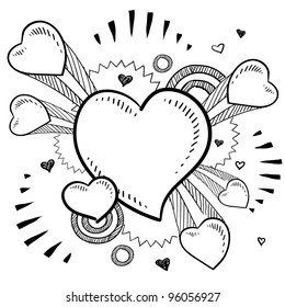 Doodle style Valentine's Day romantic heart with exploding pop background in vector format