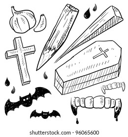 Doodle style vampire lore set in vector format.  Includes coffin, stake, garlic, crucifix, bat, and bloody fangs.