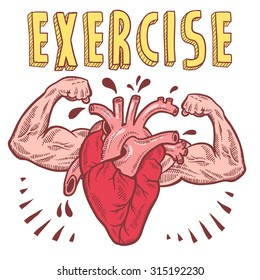 Doodle style vector drawing of a muscular heart announcing exercise with hand drawn text.